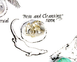 Rest and Cleansing Moon with Crystal on Medicine Wheel